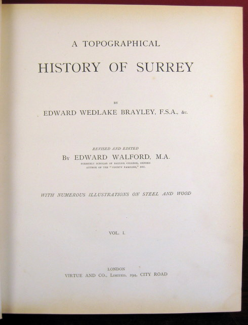 Image for A Topographical History of Surrey edited and revised by Edward Walford.