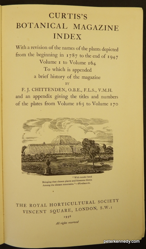 Image for Curtis's Botanical Magazine Index, with a revision of the names of the plants from the beginning in 1787 to the end of 1947